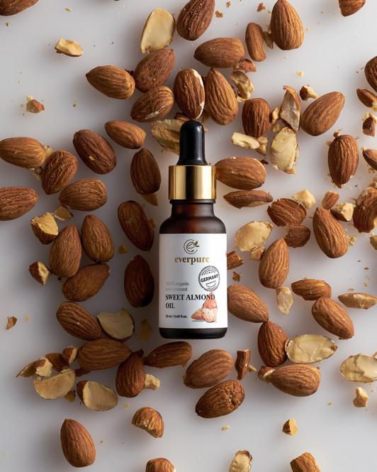 EVERPURE Sweet Almond Oil - 100% Organic Cold-Pressed